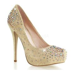 Alluring, flattering and dazzling. Fabulicious brings special occasion footwear to a new level of choice and sophistication. This hidden platform pump features multi-size rhinestone embellishments on the vamp.