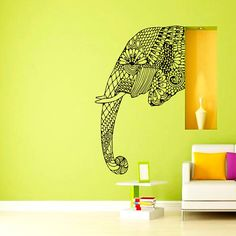 Wall Decal Vinyl Sticker Decals Art Home Decor Mural Indian Elephant Tribal Pattern Om Sign Ganesh Buddha Lotus Yoga Art Bedroom Dorm