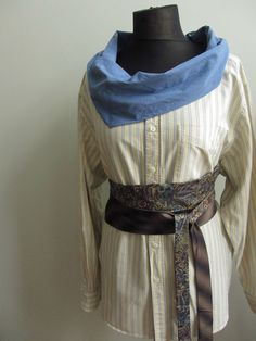 Womens Upcycled Clothing Blue Cowl Neck by GarageCoutureClothes