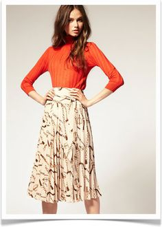 My two favorite must-have fall pieces- pleated silk skirts and orange.