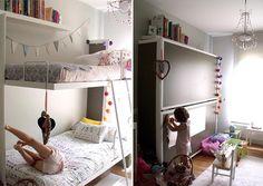 Nos encantan las soluciones para este cuarto infantil muy pequeño y compartido por dos niñas.