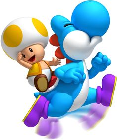 Super Mario Blue Yoshi Toad Iron on Transfer Super Mario World, New Super Mario Bros, Super Mario Birthday, Mario Birthday Party, Super Mario Brothers, Mario Party, Super Smash Bros, Super Mario Kunst, Super Mario Art