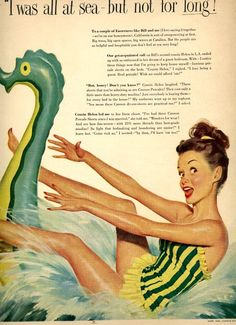 vintage pinup swimwear 1948 advertisement by FrenchFrouFrou, $14.95