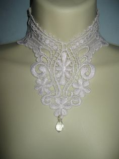 Steampunk jewelry Victorian inspired gothic white lace detachable collar necklace with swarovski crystal drop