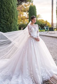 nora naviano 2019 bridal long sleeves illusion jewel sweetheart neckline heavily embellished bodice princess ball gown a line wedding dress royal train (1) mv -- Nora Naviano 2019 Wedding Dresses   Wedding Inspirasi #wedding #weddings #bridal #weddingdress #bride ~