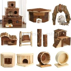 Super cute wooden toy set for hamsters. I'd love a bigger version of this set for chinchillas.
