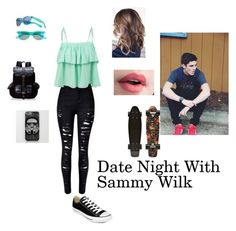 """""""Date with Sammy Wilk"""" by alexiscox23 ❤ liked on Polyvore featuring LE3NO, Converse, SO and Wild Pair"""