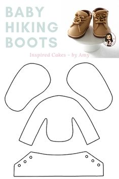 Create these cute fondant baby hiking boots using this FREE template by Inspired Cakes - by Amy Baby Bibs Patterns, Doll Clothes Patterns, Baby Boots, Baby Girl Shoes, Baby Moccasin Pattern, Baby Hiking, American Girl Doll Shoes, Fondant Baby, Shoe Pattern