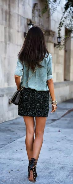 Dark sparkling skirt and casual shirt fashion