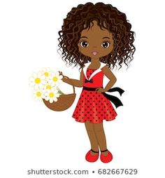 Vector cute little African American girl with basket of flowers . Vector little girl in polka dot dress. African American little girl illustration. Clipart Baby, Little Girl Illustrations, Illustrations And Posters, Little Girl Pictures, Cute Little Girls, Paper Doll Costume, Paper Dolls, Afro Girl, Baby Clip Art