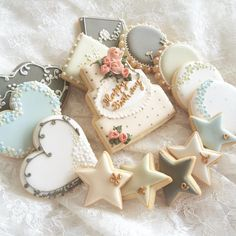 These are actually birthday cookies, but they look wedding-y to me =)