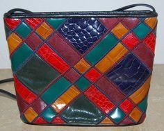 Vintage Sharif Multi Color Reptile Embossed Leather Handbag Purse Made in USA #Sharif #ShoulderBag