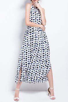 Aibiry Purplish Blue Sleeveless Polka Dot Maxi Dress | Maxi Dresses at DEZZAL