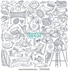 Beach Theme Doodle Set. Various Seaside Sport Activities And Relaxation - Surfing, Beach Volley, Diving, Swimming, Sun Tanning. Wildlife Of The Coast - Seagull, Crab, Shark, Jellyfish, Seashells Ilustración vectorial en stock 278795528 : Shutterstock