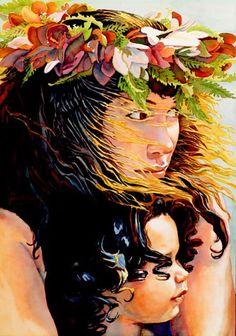 """Watching the Hul - """"Nana i ka Hula  """" - Limited Edition Lithograph by Janet Stewart"""