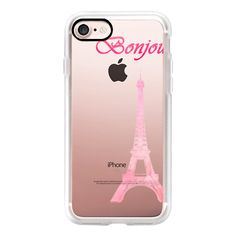 Pink watercolor french Eiffel Tower bonjour typography - iPhone 7... ($40) ❤ liked on Polyvore featuring accessories, tech accessories, iphone case, pink iphone case, iphone cover case, slim iphone case, iphone cases and apple iphone case