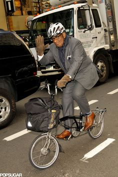 In November 2012, Al Roker rode his bike back from work in NYC. | Celebrities Hit the Road on Bikes | POPSUGAR Celebrity