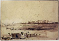 Rembrandt van Rijn Drawings VIEW OF HOUTEWAAL c. 1650 125 x 182 mm. Chatsworth Settlement, Chatsworth