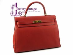 #HERMES Kelly35 Sellier Red Color Togo Leather Good Condition Ref.code-(YETL-1) More Information Pls Email  (- luxuryvintagekl@ gmail.com)
