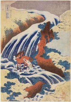 WaterfallYoshinoinYamatoprovincewhereYoshitnewashedhishorse - Katsushika Hokusai