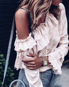 Pretty pink ruffled blouse
