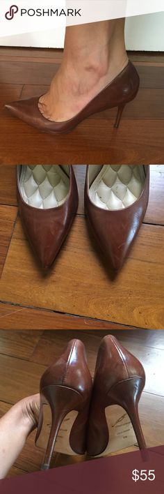 """B Brian Atwood """"Malika"""" Leather Pump Leather streamlined, pointed-toe pumps. Quilted padding at the footbed adds extra comfort. Stiletto heel and leather sole. Leather: Kidskin. MEASUREMENTS Heel: 3.5in / 90mm B Brian Atwood Shoes Heels"""