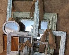 DIY picture frame display with burlap accents