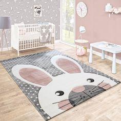 Kinderteppich Kinderzimmer Konturenschnitt Niedlicher Hase Grau Creme Rosa  Kinderteppiche