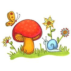 8356 - Mushroom and Snail Rubber Stamp - SKU: F586