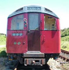 Alderney Railway - Metro-Cammell Tube Cars 1044 & 1045 - The units were delivered by two Army landing craft in 2001 and the two former 1938 cars were returned to England for cannibalisation by London Underground and scrapping at Booths of Rotherham.