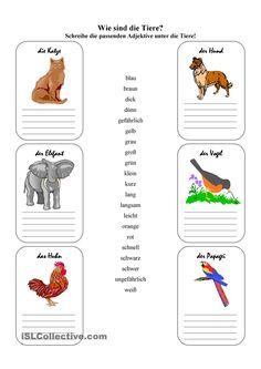 Wie sind die Tiere? Excellent activity on describing animals