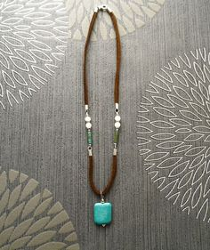 Turquoise Pendant Necklace  Brown Leather Necklace with by KRAMIKE
