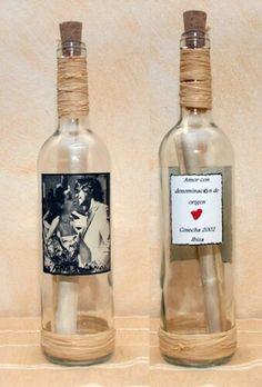 Mensajes en una botella especial san valentin. www.labotelladenur.es  Envios a toda España.