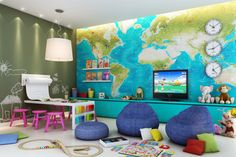 Someday a child will need a playroom. map on one wall, periodic table on one wall, music sheets on one wall.
