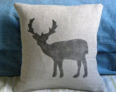 Burlap hessian deer reindeer pillow cushion for by TheNestUK