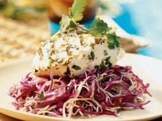 Grilled Fish on Cilantro-Chili Slaw   Try these simple grilled fish recipes for grouper, tuna, catfish, halibut, trout, and swordfish. We guarantee sizzling-good meals.