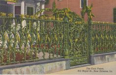 New Orleans Louisiana Corn Fence   Linen by postcardsofthepast
