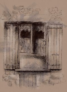 One of my sketch a day drawings French shutters  #drawing #French #honfleur #shutters #sketch #window