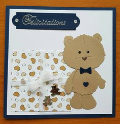 Bear Card, Men's Cards, Teddybear, Diy And Crafts, Card Making, Cottage, Craft Ideas, Baby, Drawings