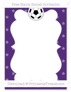 Free Royal Purple Star Pattern Blank Soccer Invitation