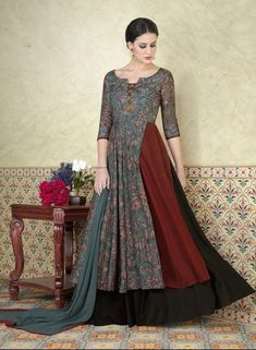 This gorgeous and magnificent multi color tussar silk print printed designer anarkali suit will help you maintain an elegant look all year long. Look chic for the day with this multi color anarkali suit pairing it with matching accessories. Anarkali Dress, Anarkali Suits, Lehenga Choli, Long Anarkali, Western Dresses, Indian Dresses, Indian Outfits, Pakistani Outfits, Western Outfits