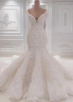 Luxurious Mermaid Lace Wedding Dresses Scoop Neck Full Lace Appliqued Crystal Long Cathedral Train Wedding Bridal Gowns is part of Wedding dresses shipping way dhl,epacket ,armax,ems occasion - White Lace Wedding Dress, Top Wedding Dresses, Lace Mermaid Wedding Dress, Mermaid Dresses, Bridal Dresses, Dhgate Wedding Dress, Modest Wedding, Summer Wedding, Backless Wedding