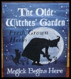Primitive Olde Witches garden witch sign wiccan magic witchcraft cat moon plaque