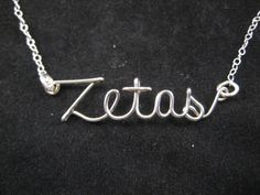 Sorority, Zeta Tau Alpha, Sterling Silver Necklace, Sorority Jewelry, College Pendant, Zetas Necklace, Sorority Necklace. $20.00, via Etsy.