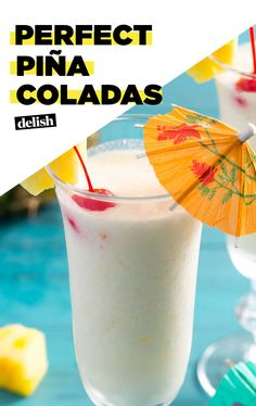 These Piña Coladas will make you feel like you're on vacation. Get the recipe at Delish.com. #recipe #easy #easyrecipe #cocktails #rum #coconut #alcohol #liquor #booze #cherry #cocktailrecipe #vacation