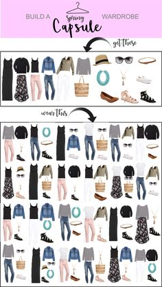 Spring Capsule Wardrobe – Just Posted - How to build and create a perfect Spring Capsule wardrobe! Create a bunch of different looks with these pieces. Capsule Wardrobe Work, Capsule Outfits, Fashion Capsule, Wardrobe Basics, Mode Outfits, Capsule Wardrobe How To Build A, Staple Wardrobe Pieces, Closet Basics, Basic Wardrobe Essentials