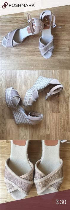 "KANNA SPAIN espadrilles wedge real suede sandals❣️ Adorable espadrilles wedge sandals from KANNA Spain. Real leather (suede) upper. Peep toe. Buckle fastening. I only worn them once for a couple of ours at an event. So they are stain free and look like new. Fits a 7 1/2 or 8 (Europe 38). Incredibly comfortable! Color: Nude. Heel height 3.5"" and platform 1.25"" . Shoes Espadrilles"