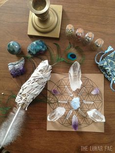 Sacred Space Kit Meditation Collection Crystal Grid by TheLunarFae