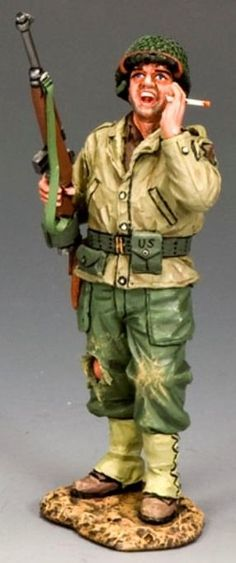 World War II U.S.Infantry Divisions DD182 U.S. 1st Infantry Division Shouting Sergeant - Made by King and Country Military Miniatures and Models. Factory made, hand assembled, painted and boxed in a padded decorative box. Excellent gift for the enthusiast.