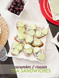 Throw a perfect friend luncheon with homemade cucumber and craisin tea sandwiches! A full recipes is posted on the blow. Sandwich Recipes, Appetizer Recipes, Appetizers, Stocking Stuffers For Men, Cream Cheese Spreads, Mango Salad, Unique Birthday Gifts, Tea Sandwiches, Cookie Designs